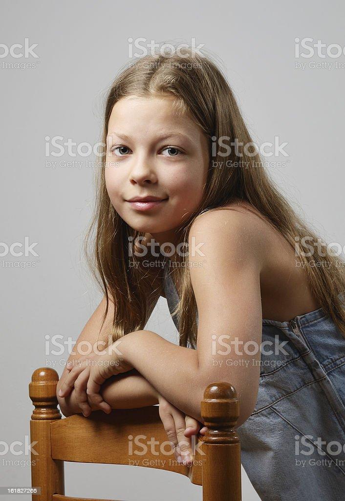 Preteen girl smiling royalty-free stock photo