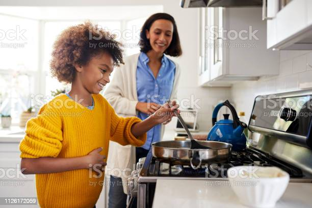 Preteen girl standing at hob in the kitchen using spatula and frying picture id1126172059?b=1&k=6&m=1126172059&s=612x612&h=p9nvbmz78p w 47snhvxrnbqpotkvyxdoj7c p0dgra=
