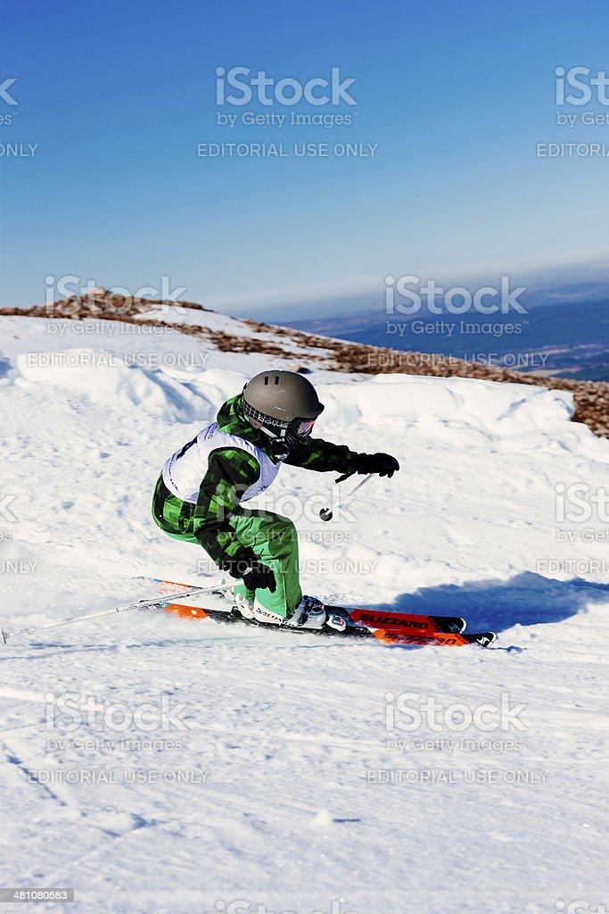 Pre-teen ski racer stock photo