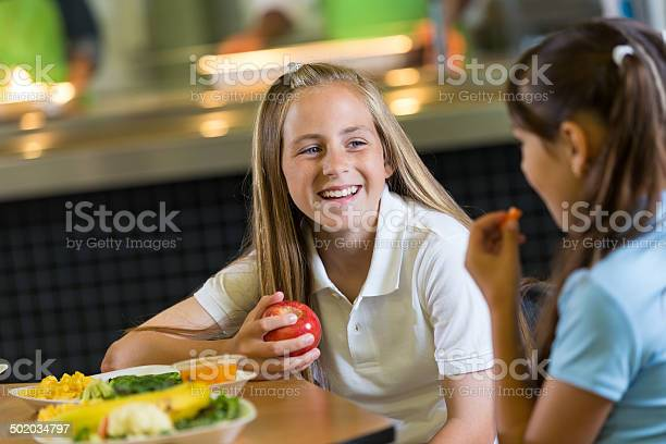 Preteen student eating healthy lunch in school cafeteria with picture id502034797?b=1&k=6&m=502034797&s=612x612&h=gloye02e7dbpz7hoysifopijxznix jxjbivsqyesjy=