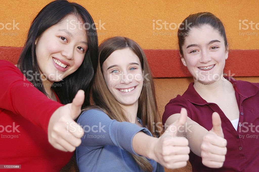 Preteen thumbs-up! royalty-free stock photo