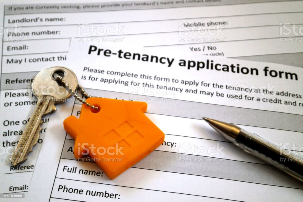 Pre-tenancy application form stock photo