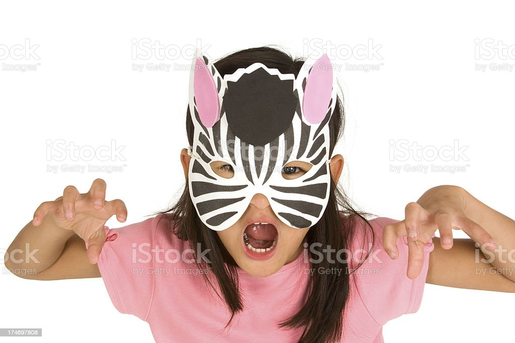 Pretending with zebra mask stock photo