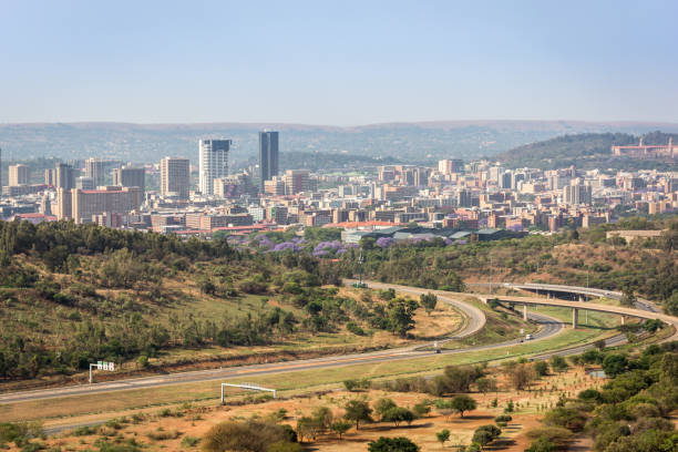 Pretoria city skyline as seen from the Voortrekker Monument Pretoria, South Africa - October 20, 2016: Pretoria city skyline as seen from the Voortrekker Monument transvaal province stock pictures, royalty-free photos & images