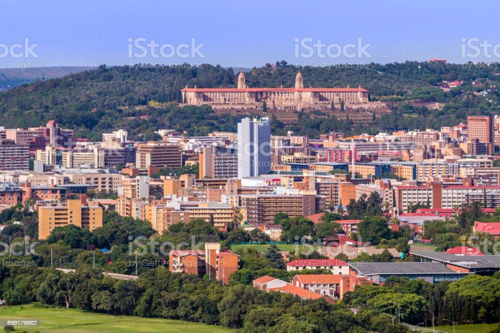 Pretoria cityscape with the Union Buildings stock photo