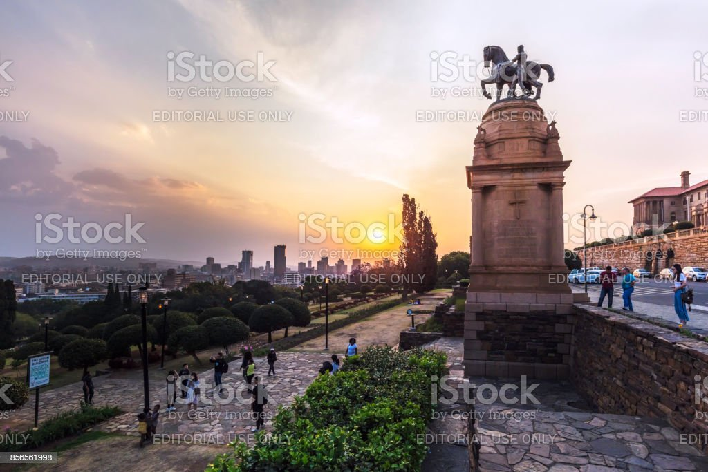 Pretoria / Tshwane panorama at the Union Buildings stock photo