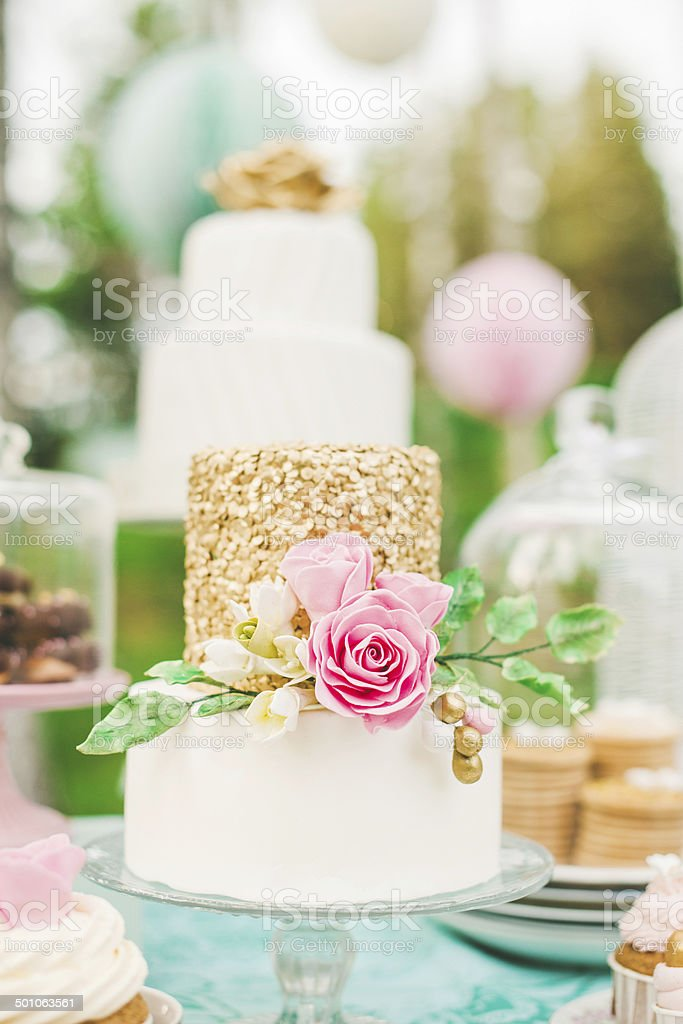 Prettiest wedding cake on dessert table royalty-free stock photo