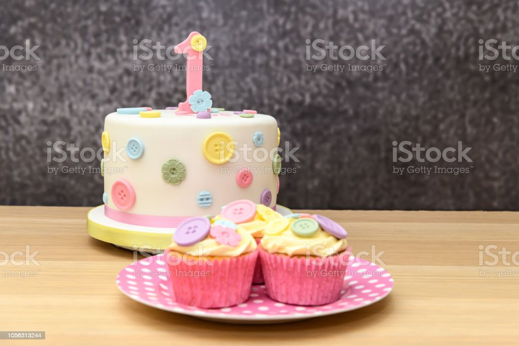 Amazing Pretty 1St Birthday Cake With Cupcakes Stock Photo Download Personalised Birthday Cards Arneslily Jamesorg