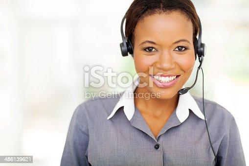 Pretty African American Call Center Operator Stock Photo