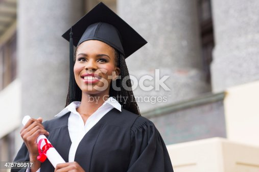 istock pretty african american female graduate 475786617