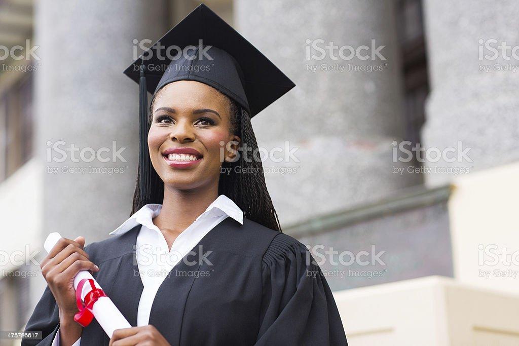 pretty african american female graduate stock photo