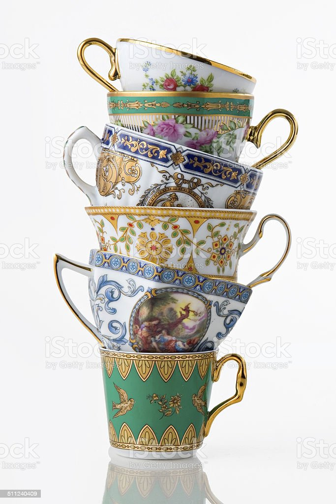 Pretty Antique Tea and coffee cup tower stock photo