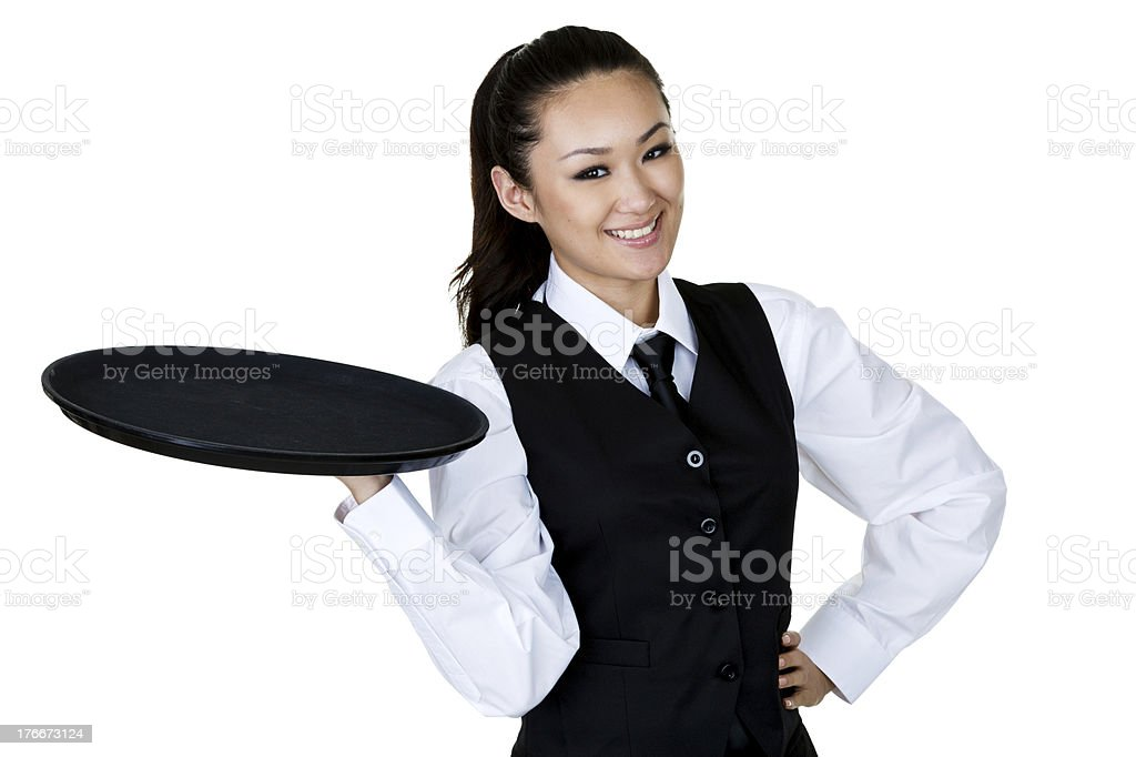 Pretty Asian woman catering royalty-free stock photo