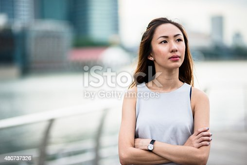 istock pretty asian woman standing outdoors 480737326
