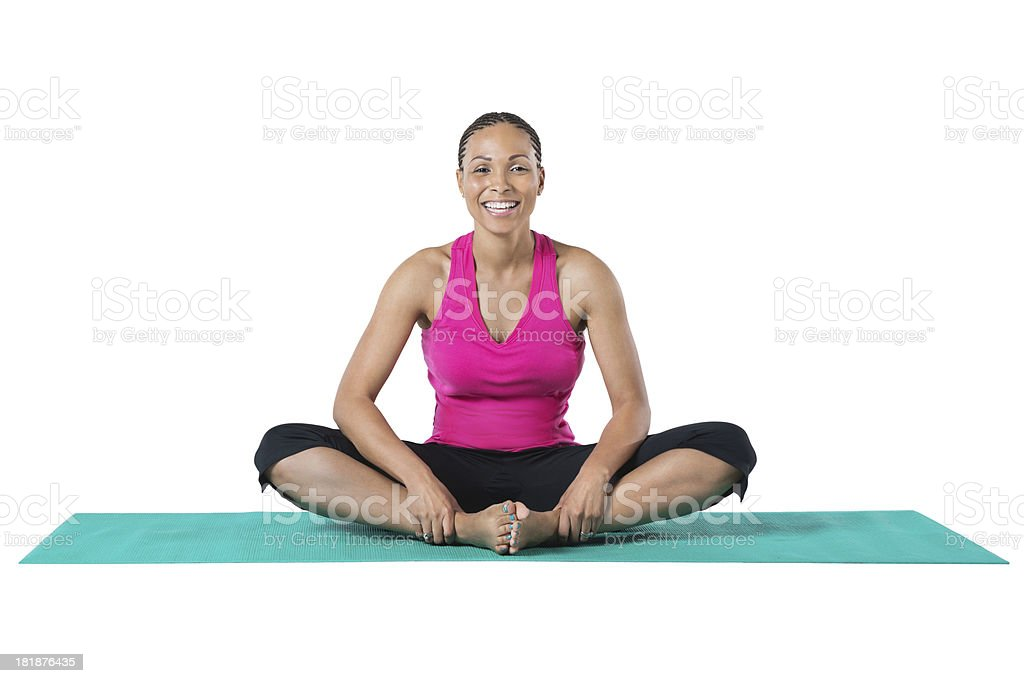 Pretty Athletic Mujer Estiramiento En Una Estera De Yoga Foto De ...