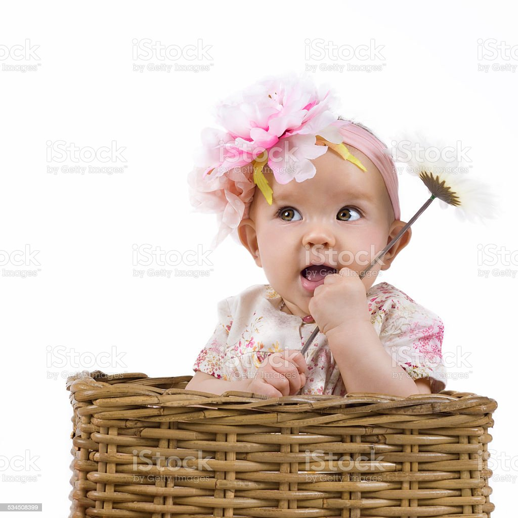 pretty baby girl holding a flower stock photo & more pictures of