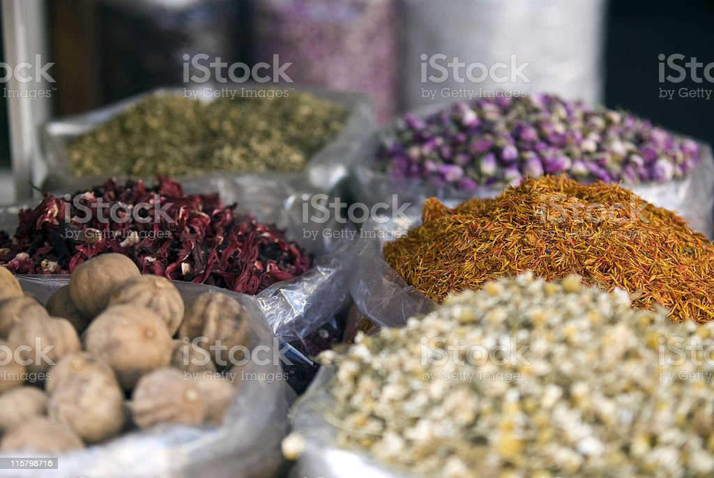 Pretty bags of Spice for sale at the Souq royalty-free stock photo