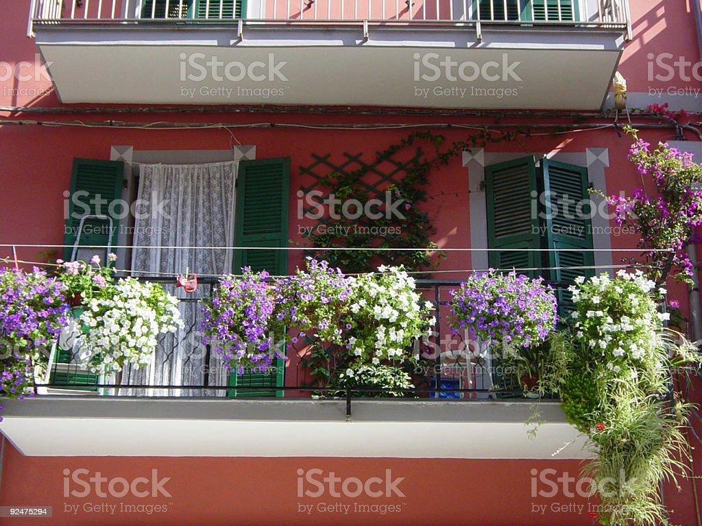 Pretty Balcony with Flowers royalty-free stock photo