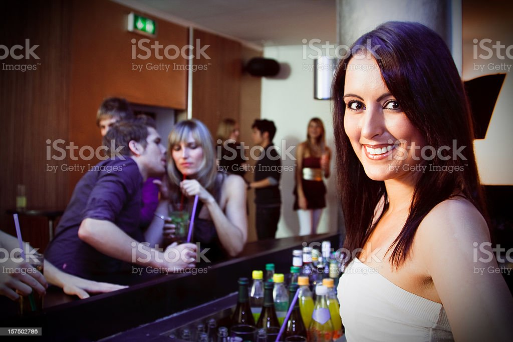 pretty bartender working at a nightclub royalty-free stock photo