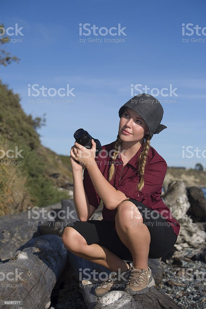 Pretty Blond Female Photographer Outside royalty-free stock photo