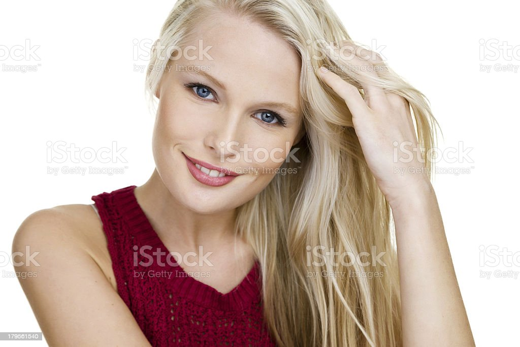 Pretty blond girl dressed in a casual top royalty-free stock photo