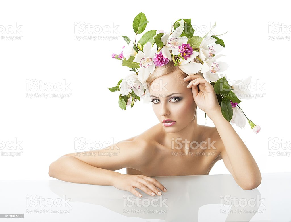 pretty blond with flower crown on head royalty-free stock photo