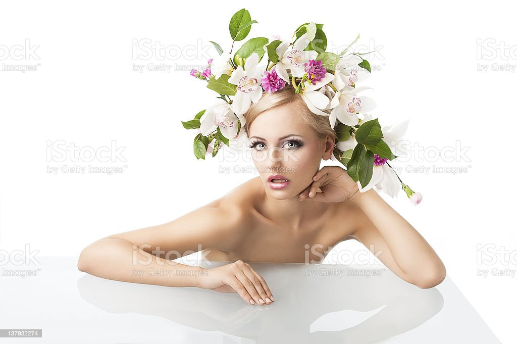 pretty blond with flower crown on head, royalty-free stock photo