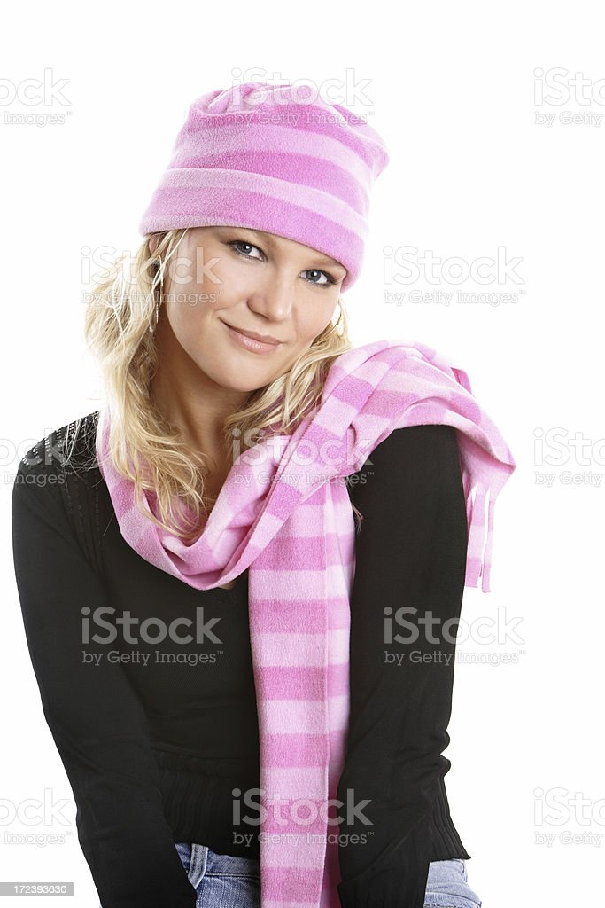 Pretty blond woman in hat and scarf royalty-free stock photo