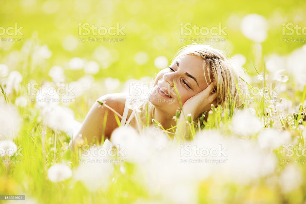 Pretty blonde enjoying in the nature. royalty-free stock photo