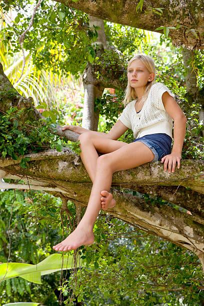 bella bionda ragazza in un albero di bayon - bambine femmine foto e immagini stock