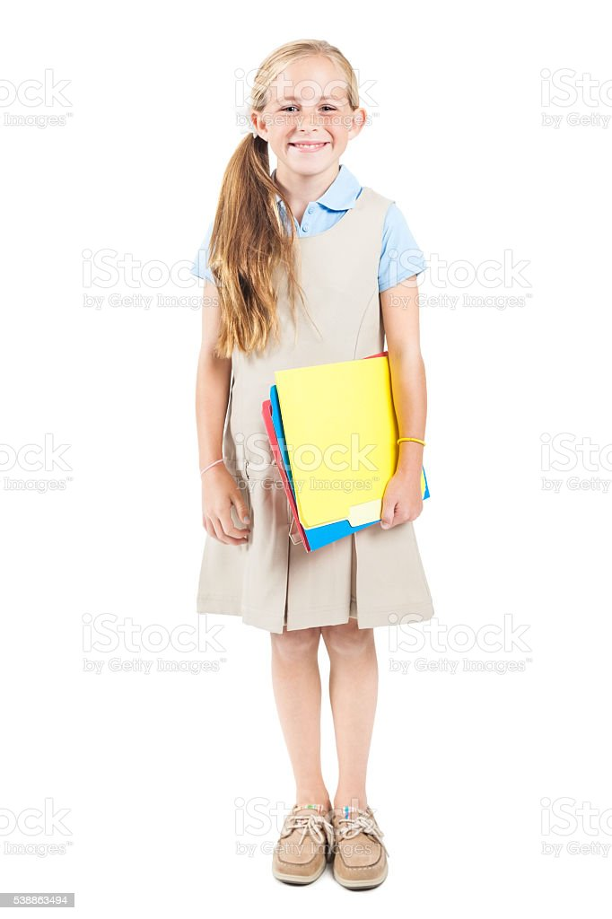 Pretty Blonde Schoolgirl Ready For Class Royalty Free Stock Photo