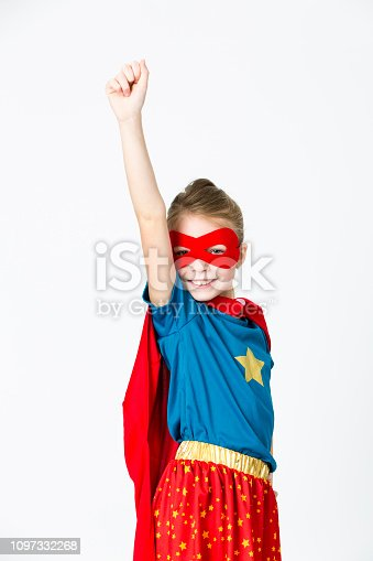 istock pretty blonde supergirl with red mask and red cape 1097332268