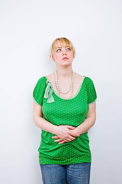 Pretty blonde thinking stock photo