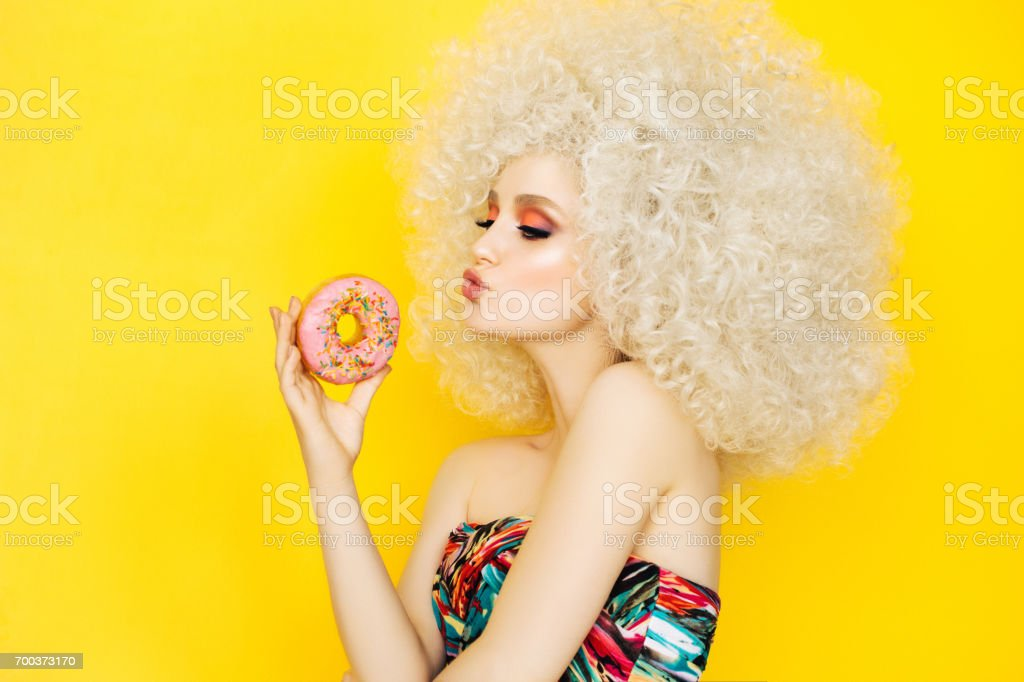 Pretty blonde with pink donuts