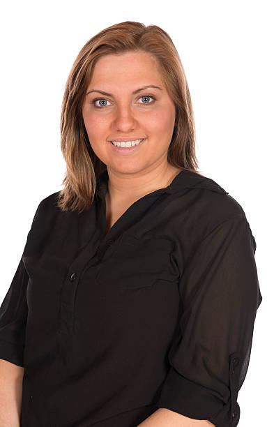 Pretty Blonde Woman black shirt stock photo