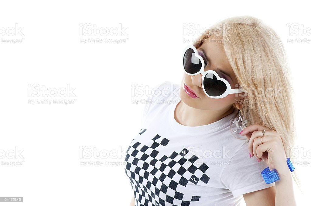 Pretty blonde woman with sun glasses royalty-free stock photo