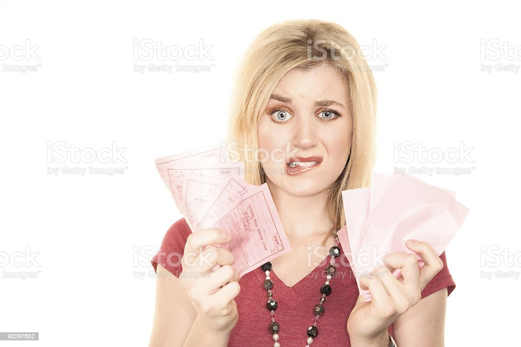 Pretty Blonde Woman with Too Much to Do stock photo