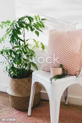 istock Pretty blush pink cushion and plant pot on a white chair 851328508