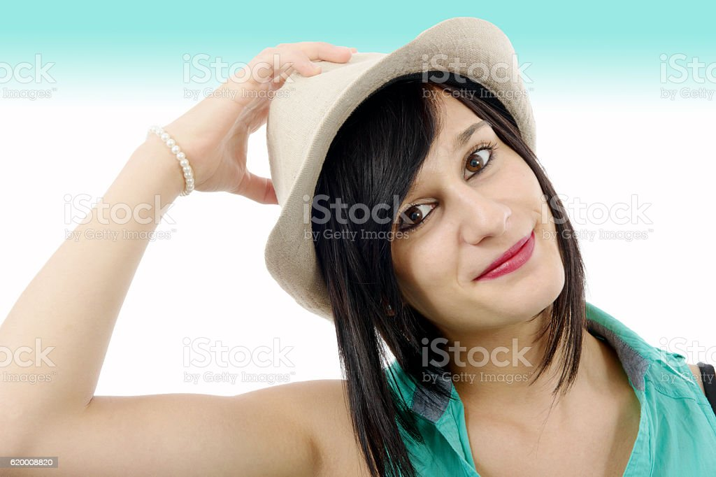 pretty brunette girl with a summer hat foto de stock royalty-free