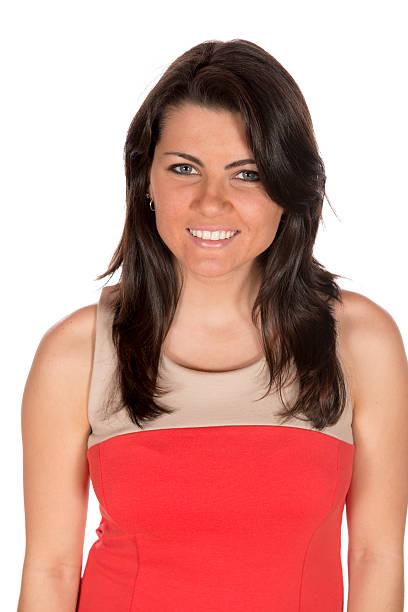 Pretty brunette  in formal dress portrait stock photo