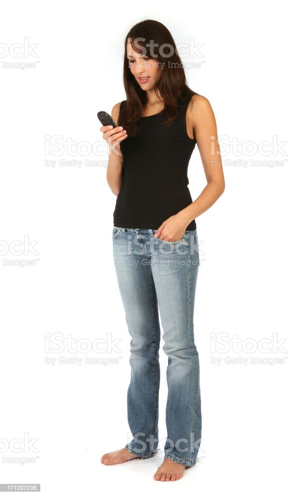 pretty brunette - Mobile Phone royalty-free stock photo
