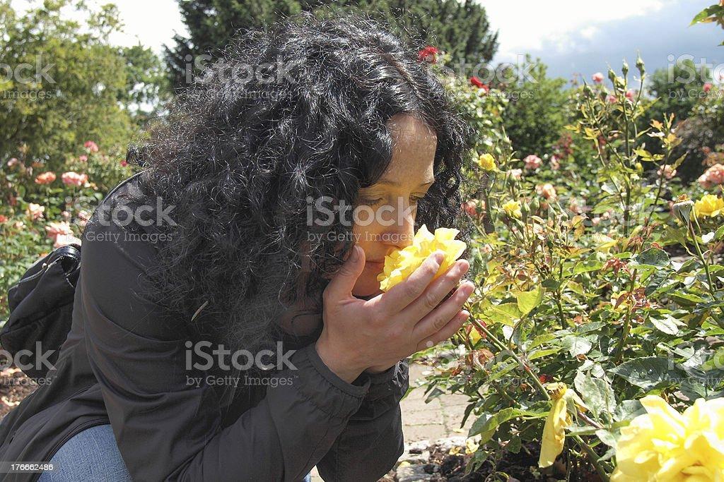 Pretty brunette con rosas foto de stock libre de derechos