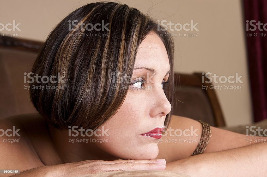 Pretty Brunette with Short Hair Looking Away royalty-free stock photo