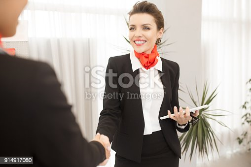 istock Pretty Business Agent Shaking Hands with Client 914917080