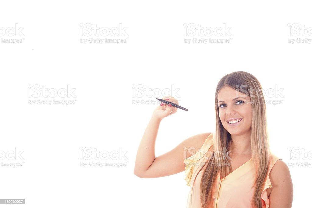 pretty business woman writing stock photo