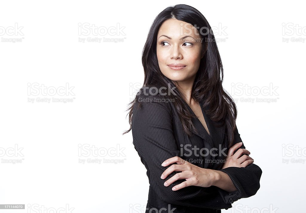 pretty businesswoman arms crossed - copy space stock photo
