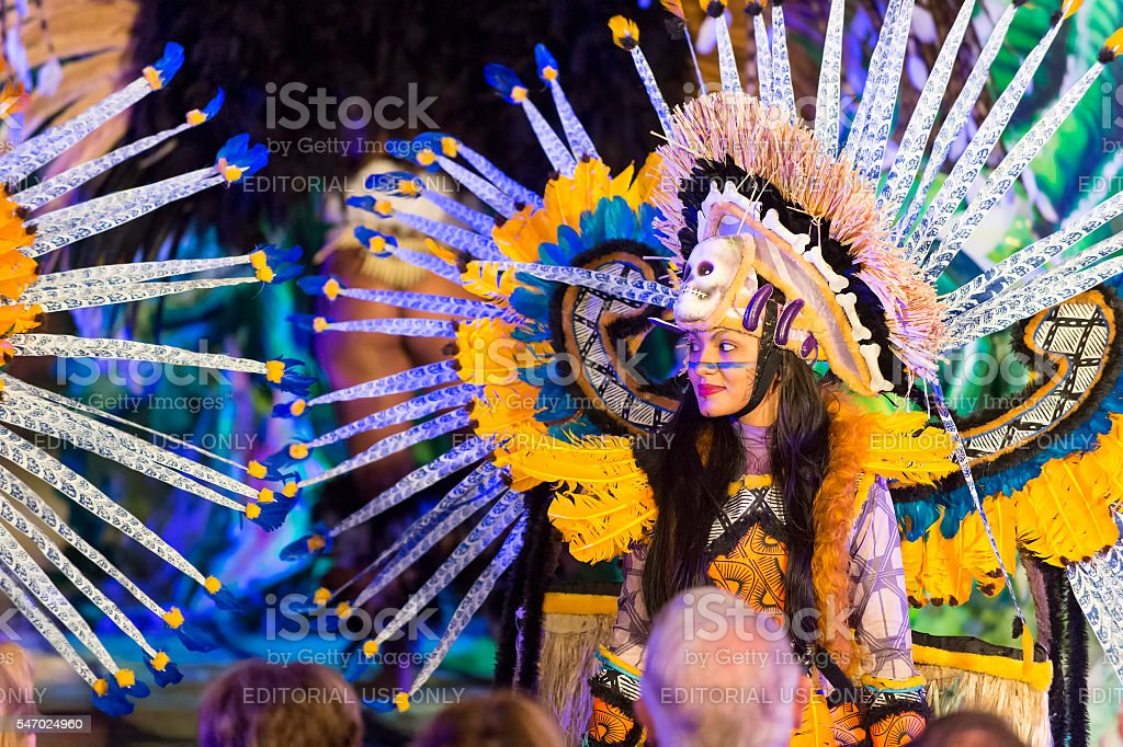 Pretty carnival woman stock photo
