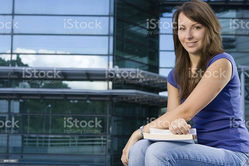 Pretty caucasian girl sitting relaxing royalty-free stock photo