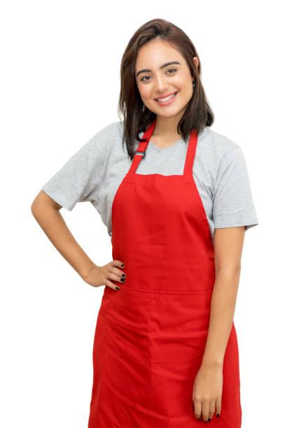 Bonita camarera caucásica con delantal rojo - foto de stock