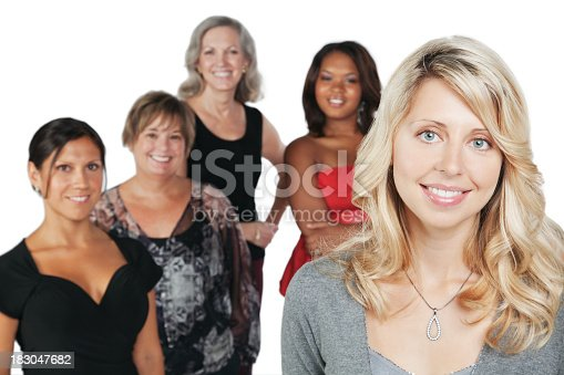 536775759istockphoto Pretty Caucasian Woman With Group of Happy Women 183047682